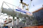 효성 창원공장에서 중국 텐진으로 수출되는 750kV급 초고압 차단기가 출하되고 있다