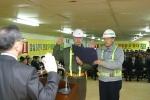 2월 28일 현대산업개발이 잠실 3단지 재건축 현장에서 안전특별캠페인인  ' SELF Safety 2005 ' 행사의 일환으로 노사대표가 결의문을 낭독하는  모습입니다.