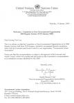 (사)환경실천연합회의 UN의 협의적 지위 취득을 알리는 UN본부의 발송 공문