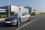 Wayne Gerdes (Hypermiling expert and owner of CleanMPG.com) readies for a Guinness World Record fuel economy challenge in a Kia Optima Hybrid