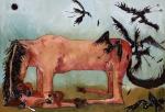 전시회'돌아가자,장미여관으로' 출품작 이재우_새와 말_oil on canvas_130.3x89.4_2009 (사진제공: 43 Inverness Street)