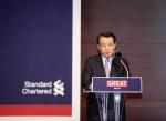 지난 27일 저녁 서울 공평동 스탠다드차타드은행 본점에서 열린 '영국 GREAT 캠페인 론칭' 행사에서 한승수(전 국무총리) 스탠다드차타드 PLC 사외이사가 축사를 하고 있다. (사진제공: 한국스탠다드차타드은행)