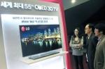 LG전자가 31일부터 이틀간 제주국제컨벤션센터에서 열리는 '디지털 케이블TV 쇼 2012(KCTA 2012)'에 참가, 케이블TV 사업자들과 차세대 스마트 셋톱박스 개발 등 신규 사업 협력방안을 모색한다. 방문객들이 LG전자부스에 설치된 세계 최대 55인치 올레드(OLED) TV를 살펴보고 있다. (사진제공: LG전자)