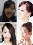 패션엔 미스에이전트에 출연한 스크림녀'강해균(24), 아래는 '몸매대역녀'김가담(25)의 성형수술 전후