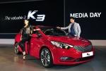 기아자동차㈜는 17일(월) 강원도 평창군에 위치한 알펜시아리조트에서 기아차 관계자 및 자동차 담당 기자단 등 200여 명이 참석한 가운데 준중형 신차 'K3'의 보도발표회를 가졌다.  풍부한 볼륨감이 돋보이는 'K3'는 세련되고 역동적인 디자인에 다양한 첨단 편의사양을 결합, 젊은 감성과 스타일을 지향하는 고객들에게 '스마트 카 라이프(Smart Car Life)'를 선사할 차세대 준중형 세단이다.