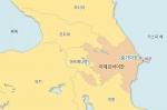 아제르바이잔 숨가이트(Sumgayit) 지역 지도. 숨가이트는 수도 바쿠에서 북서쪽 35km에 위치해 있다.