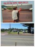 애국주의연대가 지난해 12월 광화문에 전시한 사진(위)과 현장사진(아래)이 같은 장소임이 밝혀졌다.