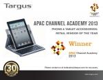 타거스가 지난 11월 싱가포르 샹그릴라 호텔에서 열린 디스트리 아시아퍼시픽(Distree APAC) 2013에서 올해의 스마트폰&태블릿 액세서리 기업으로 선정됐다.
