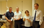 (왼쪽부터) 애질런트 대외협력이사 루돌프 그림(Rudolf Grimm), 싱가포르 국립대학SLING 연구소장 마커스 웬크(Markus Wenk)교수, 충남대학교 분석과학대학원 안현주 교수, Baker IDI 연구소장 피터 메이클(Peter Meikle) 교수