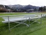 New bleachers at the Kamaishi Football Ground, donated by Menicon, give fans a spectacular view of the field and the mountains beyond.