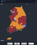 뉴스젤리 인터렉티브 인포그래픽 지방선거 전체 지도 화면이다.