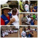 태글리쉬 정선희 강사님과 용돈으로 키베라의 아이들에게 장학금을 전달하는 최예준, 이도현, 박주형 학생들의 모습이다.