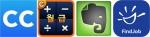 왼쪽부터 캠카드, 월급계산기, 에버노트, 파인드잡 앱 아이콘