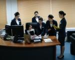 실습수업 중인 한국관광대학교 국제비서과 학생들