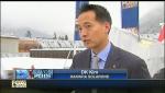 한화솔라원 김동관 영업실장이 23일 오후, 스위스 다보스에서 미국 FOX TV와 태양광 시장 전망과 관련된 인터뷰 화면