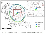 충청남도 인구 중심점 변화 모습(충남발전연구원 발간, 충남리포트 151호)