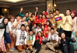 한국청소년단체협의회가 주최한 제15회 한아세안 청소년교류 행사가 지난 2014년 1.16~22일까지 한국과 아세안 청소년 100여명의 참여속에 서울 및 강원도에서 개최된 가운데, 참가자들이 18일 강원도 웰리힐리파크에서 열린 한아세안 음식축제를 마치고 기념촬영을 하고 있다.
