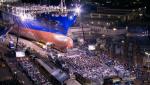 현지시간 4월 18일 오후 미국 샌디에고 나스코 조선소에서 열린 천연가스 추진선박의 명명식 모습(사진 나스코 조선소 제공)