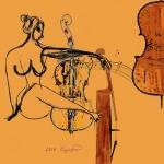 이미 음악 속엔 그림이 있죠. 그림 속엔 음악이 있고요. 현재 저의 작업의 주제가 음악입니다라고 말하는 서양화가 모지선 작가의 작품 첼로를 사랑하는여인