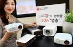 캠핑족과 1인가구를 겨냥한 'LG 미니빔 TV'의 국내 월 판매량이 전년 동기 대비 50%이상 증가하며 돌풍을 일으키고 있다. 'LG 미니빔 TV'는 지난 4월에만 약 5,000대가 팔려나가며 인기몰이를 하고 있다. 모델이 제품과 함께 포즈를 취하고 있다.