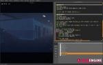 피니엔진으로 게임을 개발하는 화면. 오른쪽 영역에서 한글로 작성된 코드를 볼 수 있다.