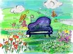 음악을 그리는 모지선 화가가 그린 '꽃밭에서' 작품