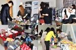 유기견 보호 모금 바자회 부띠크프리마켓, 가수 길건 씨와 방송인 조향기 씨가 팬들에게 제품 설명을 하고 있는 모습