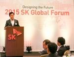 사진은 박정호 SK C&C 사장이 지난 5일(현지 시각) 미국 실리콘 밸리에서 열린 '2015 SK 글로벌 포럼' 기조 연설을 통해 SK그룹의 ICT 성장 전략과 방향을 설명하고 있는 모습
