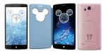 LG전자가 일본시장에 출시한 디즈니 모바일 온 도코모(Disney Mobile on docomo) DM-01G 제품 이미지. 왼쪽부터 퓨어화이트, 파우더 블루, 프리티핑크 색상.