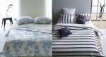 차가운 감촉으로 여름철 인기가 높은 인견을 사용한 까사블랑 록시풍기인견이불세트(왼쪽)밝은 톤의 원색 줄무늬 디자인으로 시각적인 시원함을 더한 까사블랑 세인트이불시리즈(오른쪽)