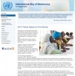유엔의 세계 민주주의의 날 웹페이지