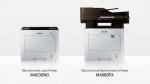 삼성 흑백 레이저 프린터 M4030ND 시리즈와 흑백 복합기 M4080FX 시리즈(왼쪽부터)