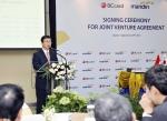 BC카드 서준희 사장이 BC카드-만디리은행 카드 프로세싱 합작사(JV) 설립 협약식에 앞서 사업 계획을 설명하고 있다