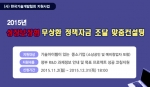 (사)한국기술개발협회는 2015 하반기 성공보장형 무상환 정책자금 조달 맞춤컨설팅 지원사업을 홈페이지를 통해 공고하고 올해 12월 31일까지 신청접수를 받는다고 공식 발표했다