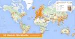 전세계 유스호스텔 네트워크를 한 눈에 볼수있는 지도