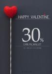 칼린이 발렌타인데이를 맞아 지갑라인 30% 할인을 실시한다