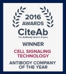 시그널링 테크놀로지가 '2016 CiteAb 어워드'(CiteAb Award)에서 '올해의 항체 기업상'과 함께 2년 연속 '연구자가 선택한 기업상'을 수상했다.