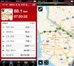 런타스틱 로드 바이크 프로 앱은 누적거리, 누적시간, 속도, 고도, 페이스, 칼로리 소모량 등 다양한 통계정보를 계산해 보여준다 (사진제공: 런타스틱)