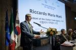 3월 9일 포시즌스 호텔에서 진행 된 이탈리아-한국 비즈니스 포럼 및 세미나에서 이탈리아 무역공사 리까르도 몬티 사장이 인사 하고 있다