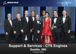 "CTS 엔진팀이 2015 보잉사의 2015 ""올해의 공급업체(Supplier of the Year)""상울 수상하였다.(사진 좌에서 우로). 폴 파스키에(보잉 부사장, 글로벌 기술 및 공급 관리, 엔지니어링, 테스트 및 기술 공급자 관리, 방위산업, 우주항공 담당), 잭 하우스(부사장, 공급자 관리, 방위산업, 우주항공 담당) 베사 파우케리(사장 겸 COO), 켄트 피셔(부사장, 총괄 매니저, 공급자 관리 및 상업용 항공기 담당), 제임스 그..."