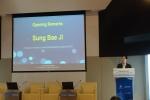 대한상사중재원 지성배 원장이 UAE 현지 설명회에서 환영사를 하고 있다