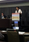 GEST 2016에 참석한 김재욱 원장이 남성불임의 원인 정계정맥류 색전술 치료에 대해 발표하고 있다