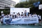 5월 18일 경기대학교에서 하프라인 슛 이벤트를 진행한 챌린져스 팀원들