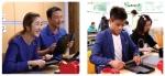 왼쪽사진(왼쪽 성은채),오른쪽사진(왼쪽 정민우) 발달장애인들과 함께 직업적응훈련 체험
