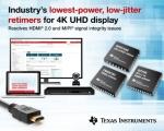 TI가 4K UHD 비디오 및 카메라 인터페이스를 위한  업계 최저전력의 저-지터 리타이머 IC를 출시한다