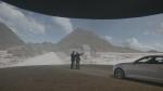 캠페인 주인공이 아들과 함께 3D 영상으로 구현된 가상의 고향을 보고 있는 모습