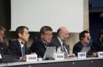 16일 스위스 제네바에서 열린 ITU 국제표준화 회의에서 ITU 이재섭 전기통신표준국장이 발언하고 있다. 왼쪽부터 야마모토 SG16 부의장, 이재섭 ITU 표준화총국장, 시마오 ITU 자문의원, 루오 SG16 의장