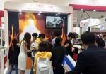 제14회 국제소방안전박람회에 참가한 한국가상현실 VR 주방 화재 체험 현장