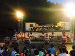 국립평창청소년수련원이 개최한 2016년 아웃도어가족캠프에서 2018년 평창올림픽 홍보활동을 위해 지역 청소년들이 모둠북 공연을 하고 있다