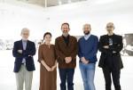 왼쪽부터 로베르토팟지 작가, 정란기 이탈치네마 대표, 마르코 델라 세타 주한이탈리아대사, 주세페 스쿠일라치 감독, 루카 스칸페르라 감독이 기념촬영을 하고 있다